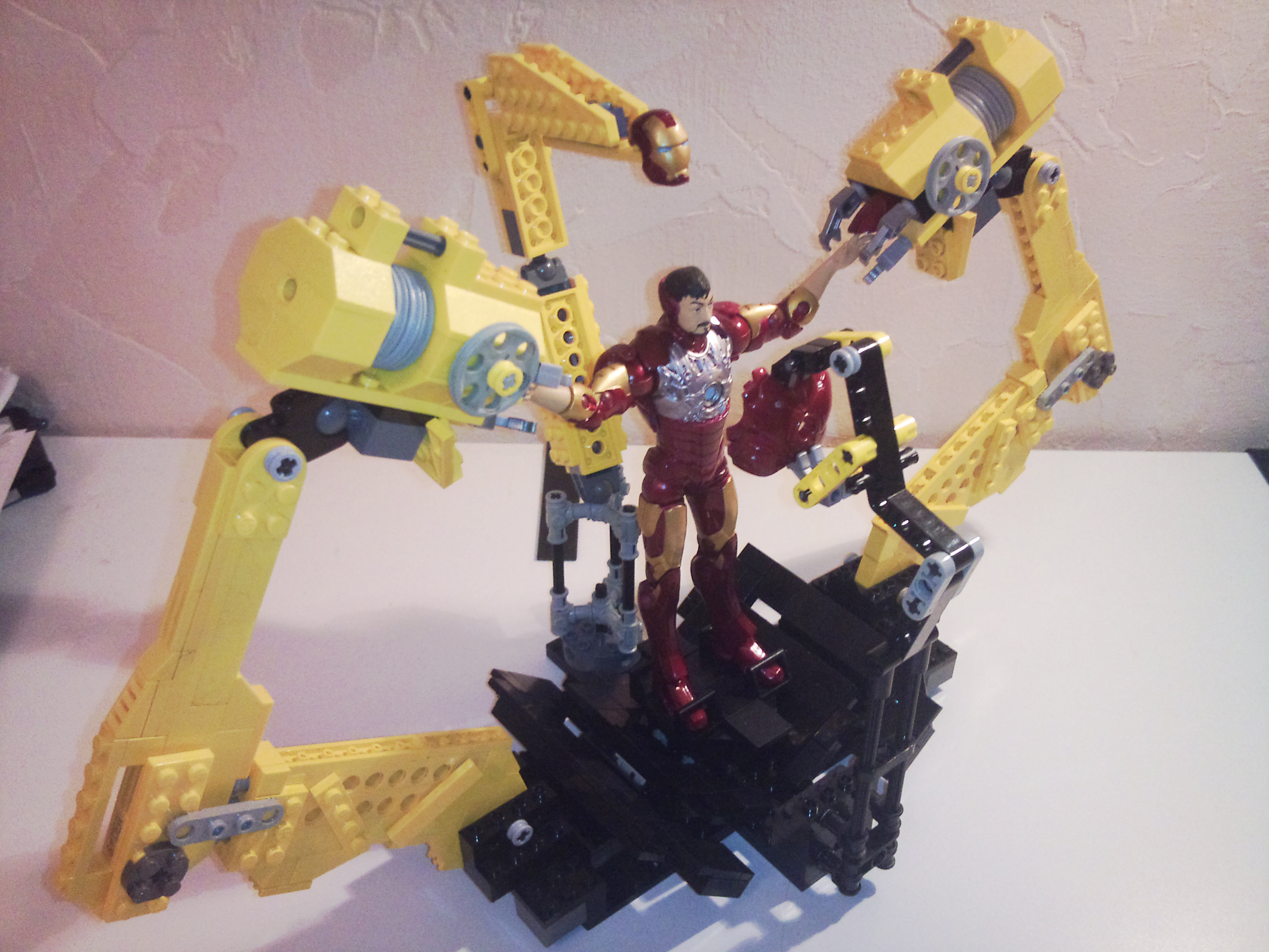 Marvel Legends scale Lego Iron Man Suit-up Gantry by