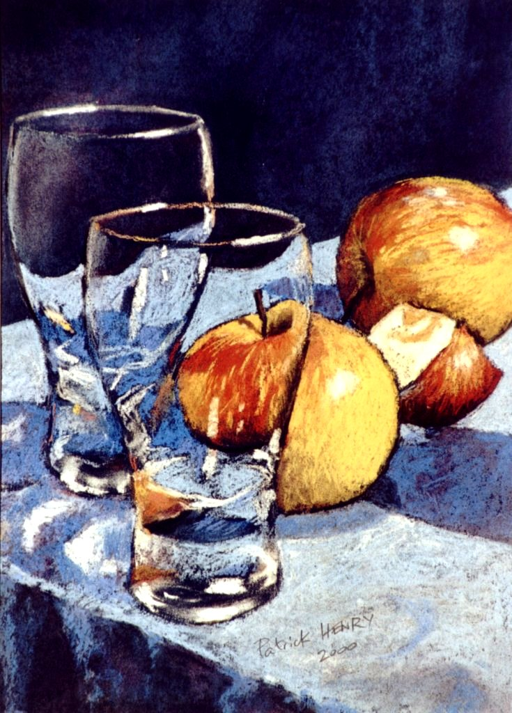 Apples and glasses (verres et pommes) soft pastel by PatrickHENRY
