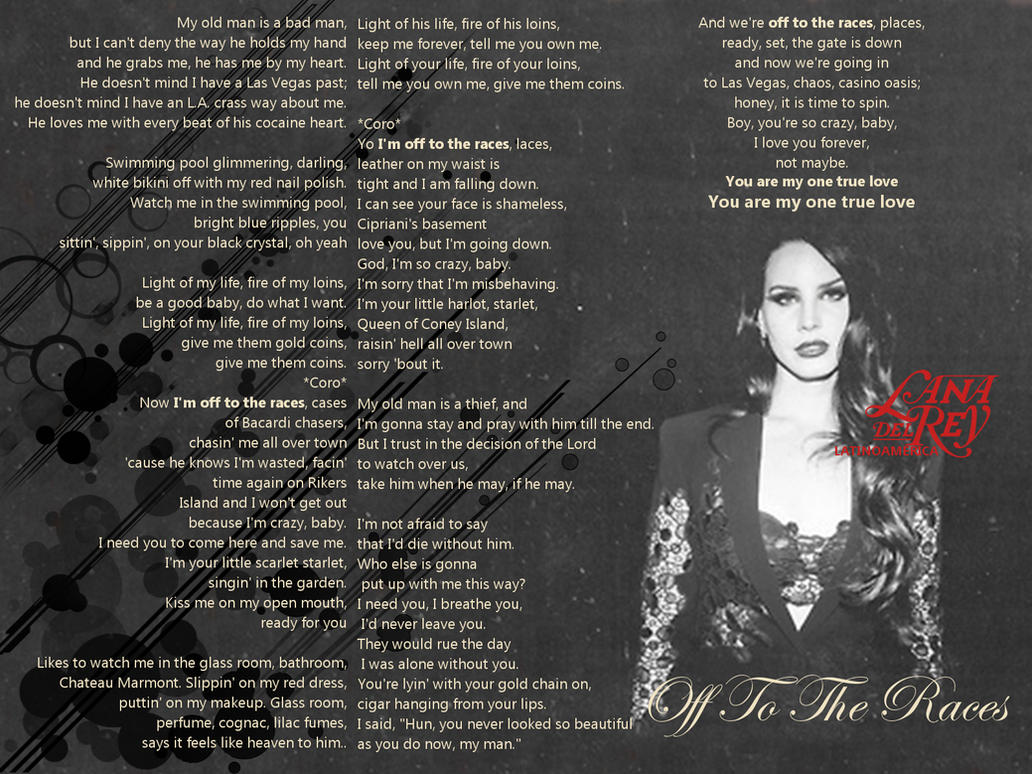 Lana del rey off to the races lyrics