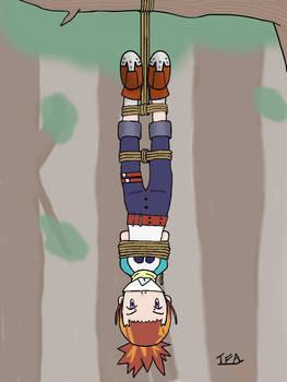 Rika Nonaka tied upside down