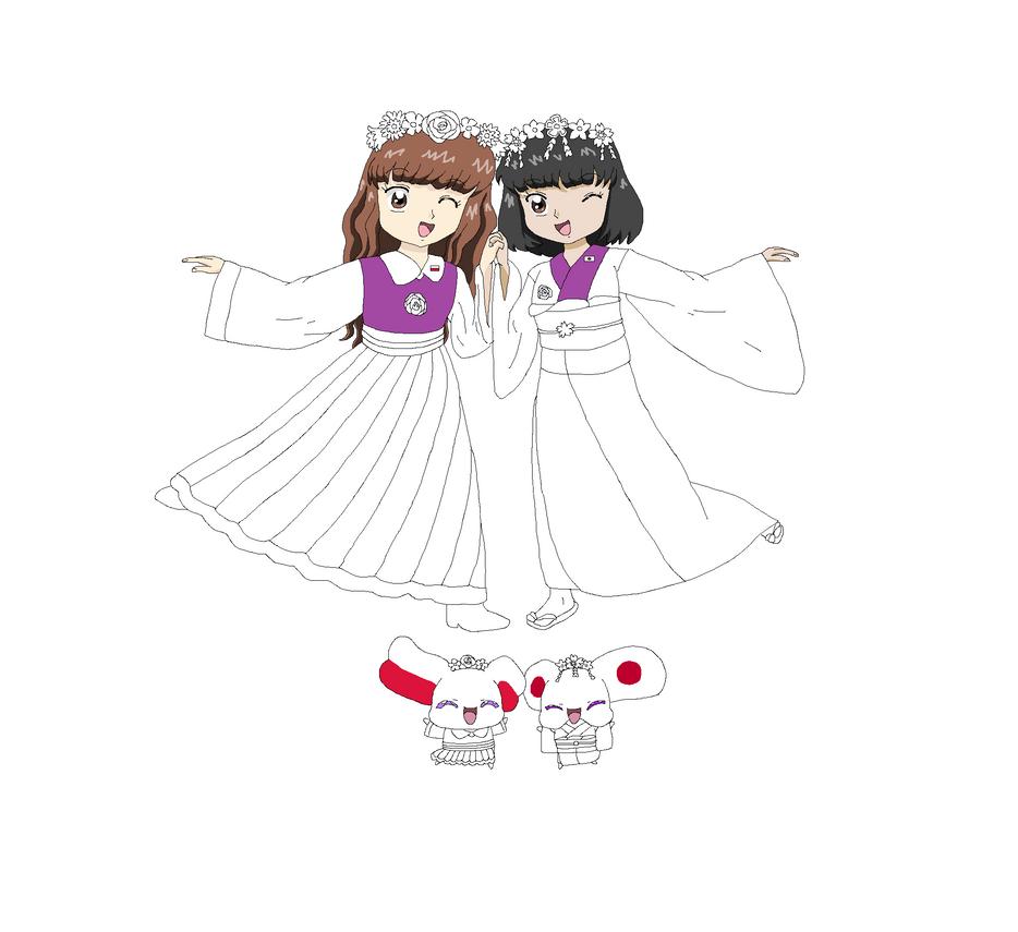 Nation Precure! Traditional Outfits by Kawayoporu-chan