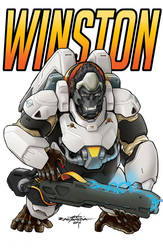 Overwatch -Winston Pin-Up by AdamMartinColours