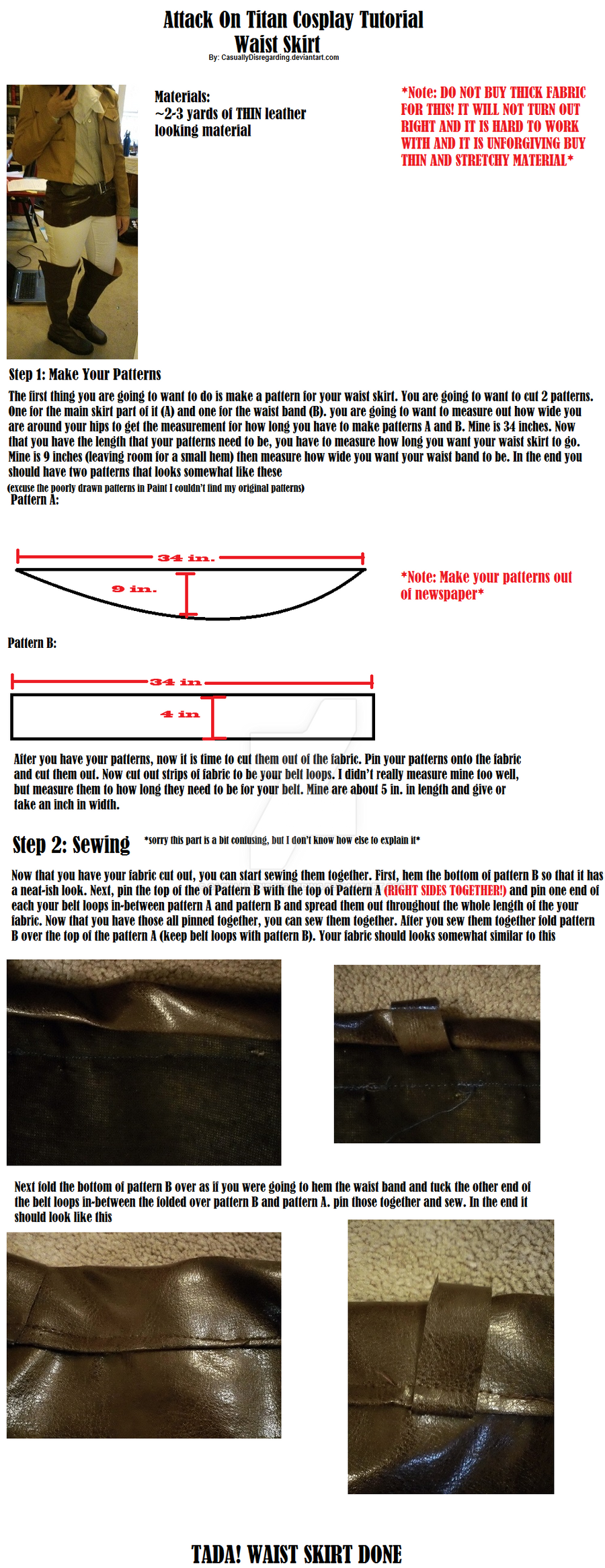 Attack On Titan Waist Skirt Tutorial by CasuallyDisregarding