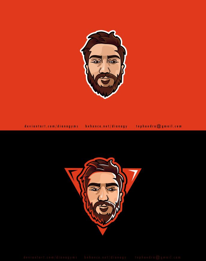 Bearded Man Cartooned Logo