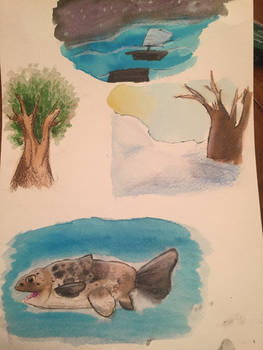 Couple watercolor paintings for school
