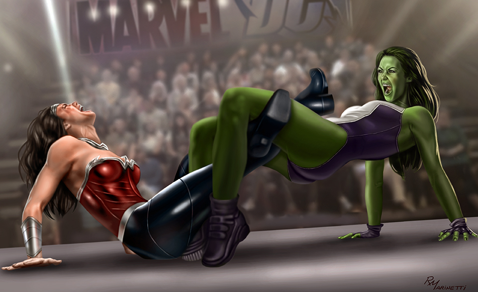 She-Hulk vs Wonder Woman by RaffaeleMarinetti