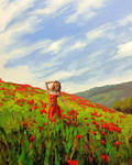 Among the Poppies 40x30 oil