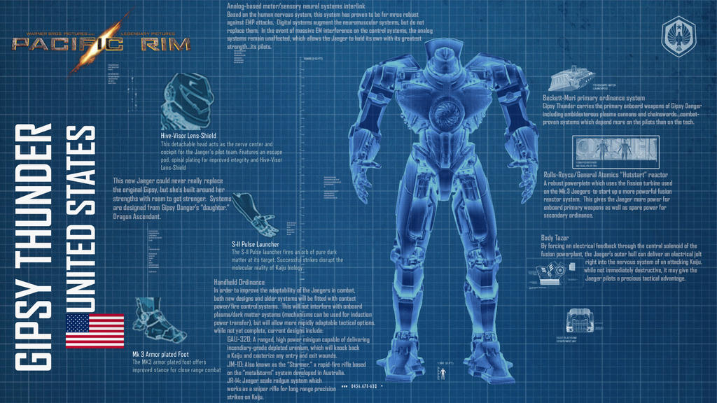 Pacific Rim - Gipsy Thunder by DolphinSilverwolf on DeviantArt Pacific Rim Jaeger Gypsy Danger Blueprint