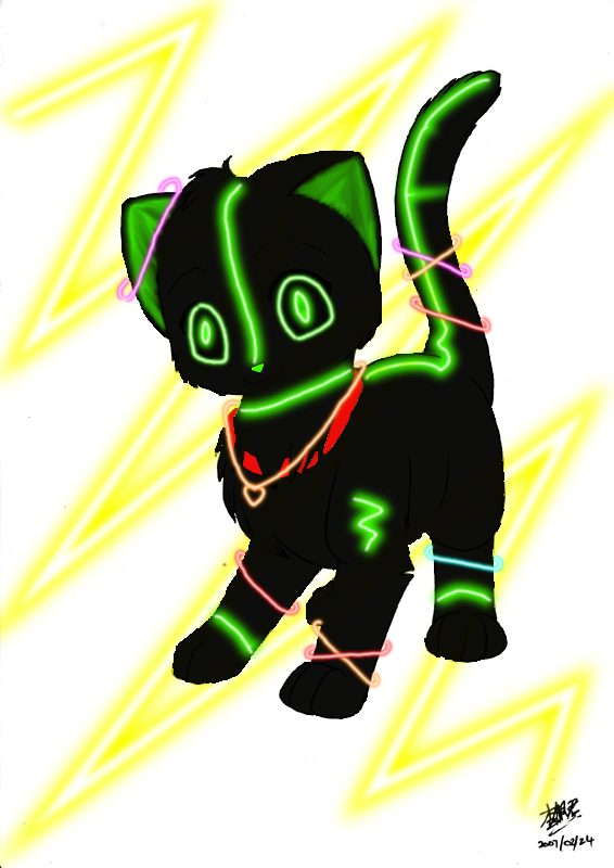 Nula the Glow Kitty. by MorningTears