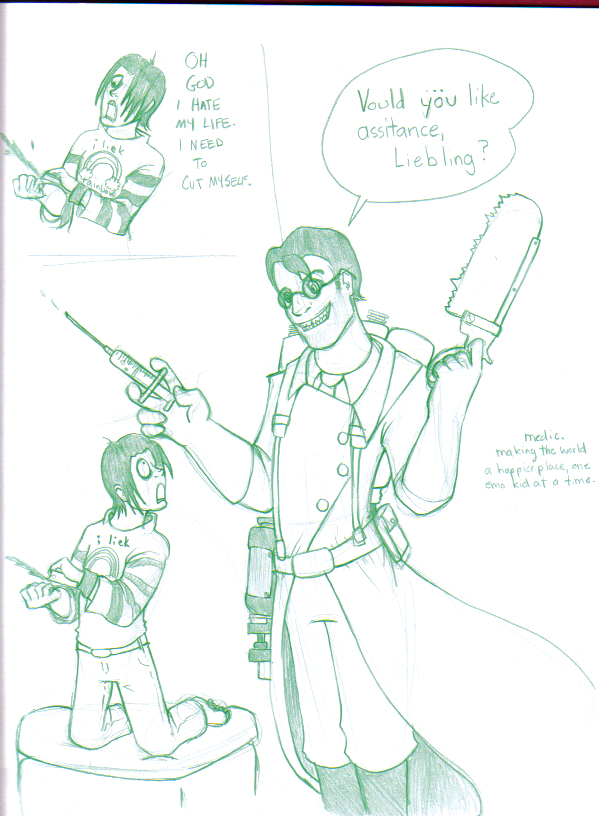 Medic Hates Emo Kids by The-Letter-W