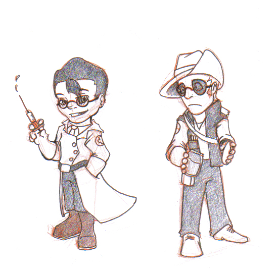 Medic and Sniper Chibis by The-Letter-W