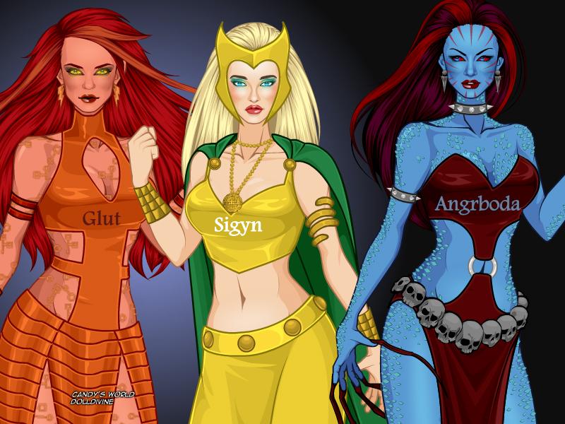 Loki's wives: Glut, Si... Zeus Digital Painting