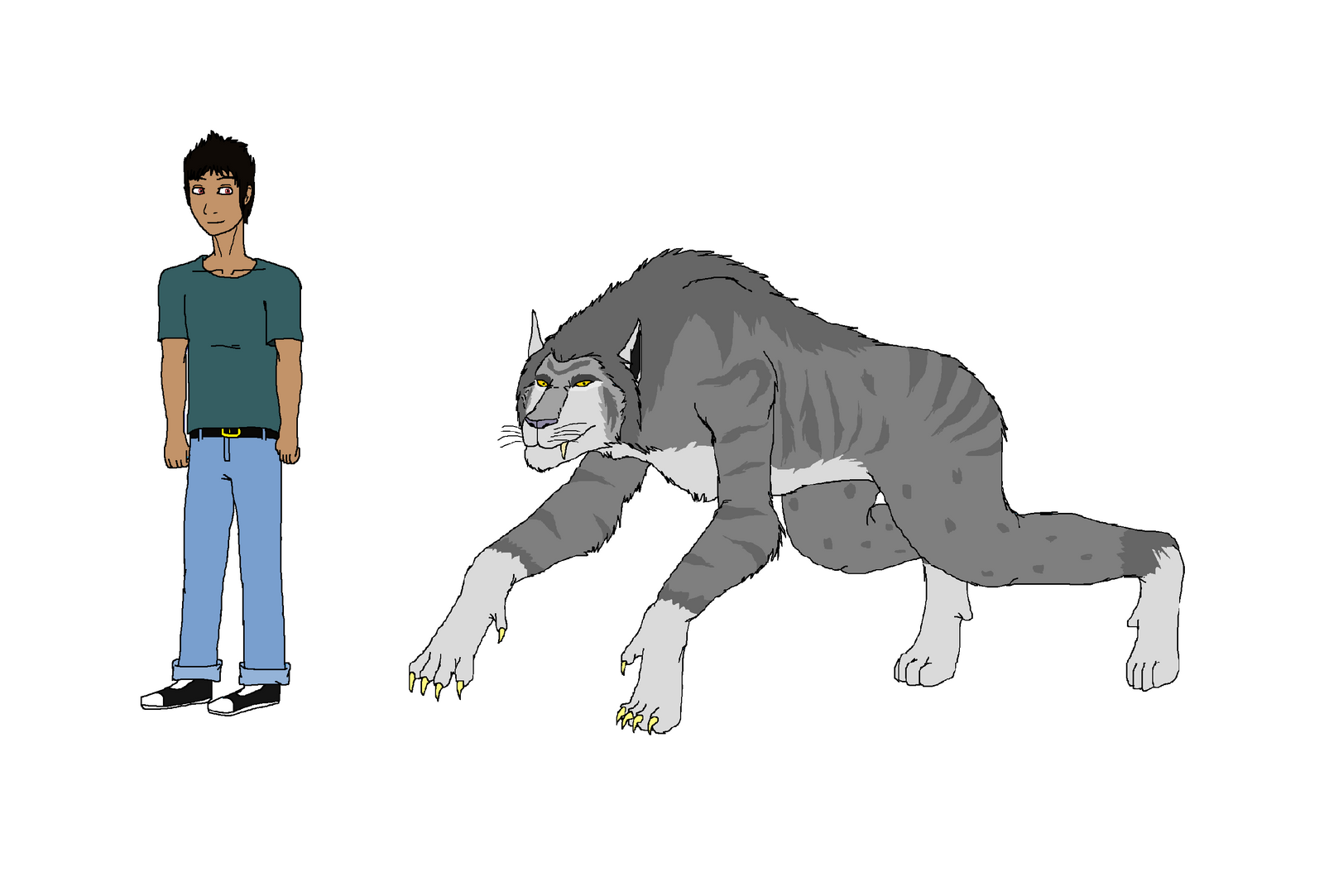 Zaheer Shaikh human and wolf form by Redspets