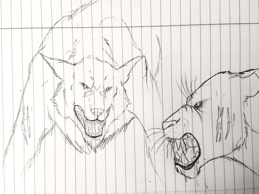 Werewolf vs Demon Panther by Redspets