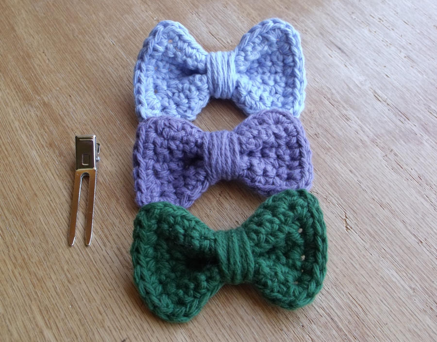 Crochet Hair Bows : Crochet Bow Hair Clips by LiebeTacos on DeviantArt