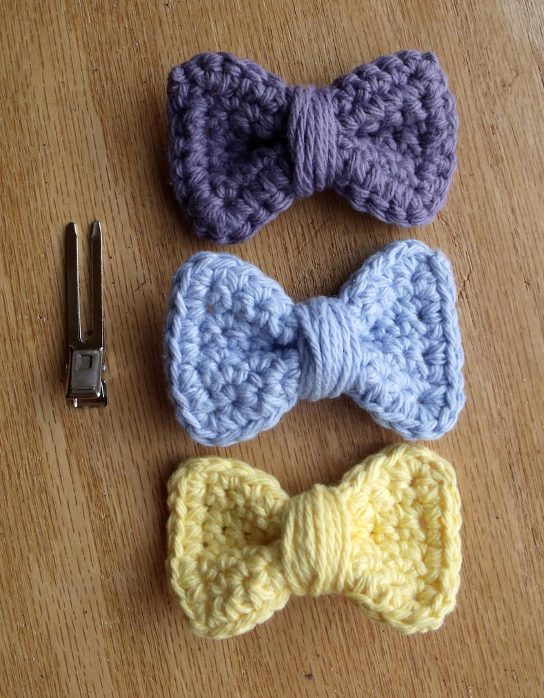 Crochet Hair Bows : Crochet Bow Hair Clips- Pastel by LiebeTacos on DeviantArt