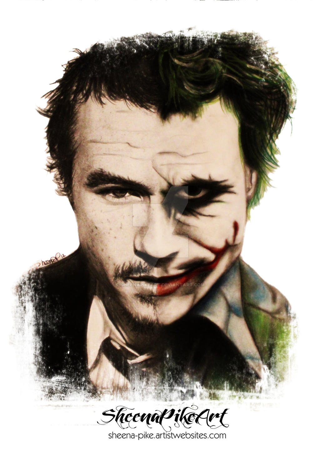 Heath as the joker by SheenaPikeArt