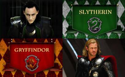 Loki and Thor - Slytherin and Gryffindor by NatalyRahl