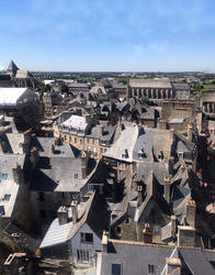 ariel view of old buildings by DivsM-stock