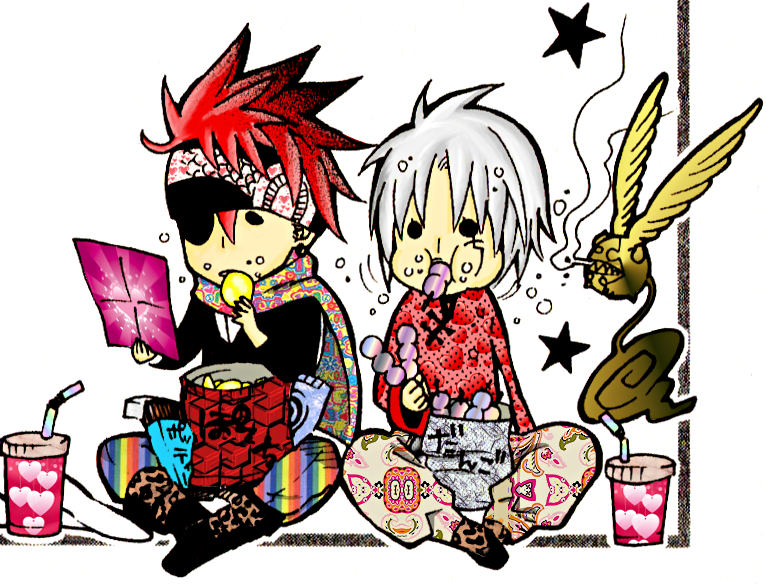 Chibi Lavi and Allen eating by jaderella