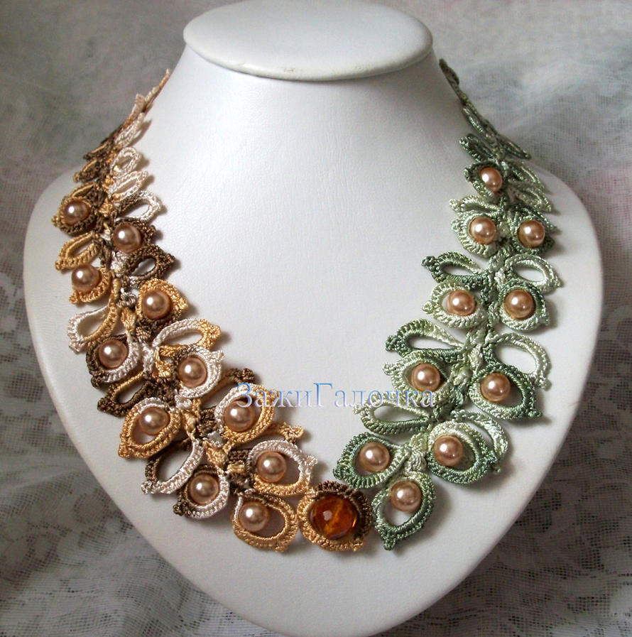 Crochet necklace with beads by ZajiGalochka on DeviantArt