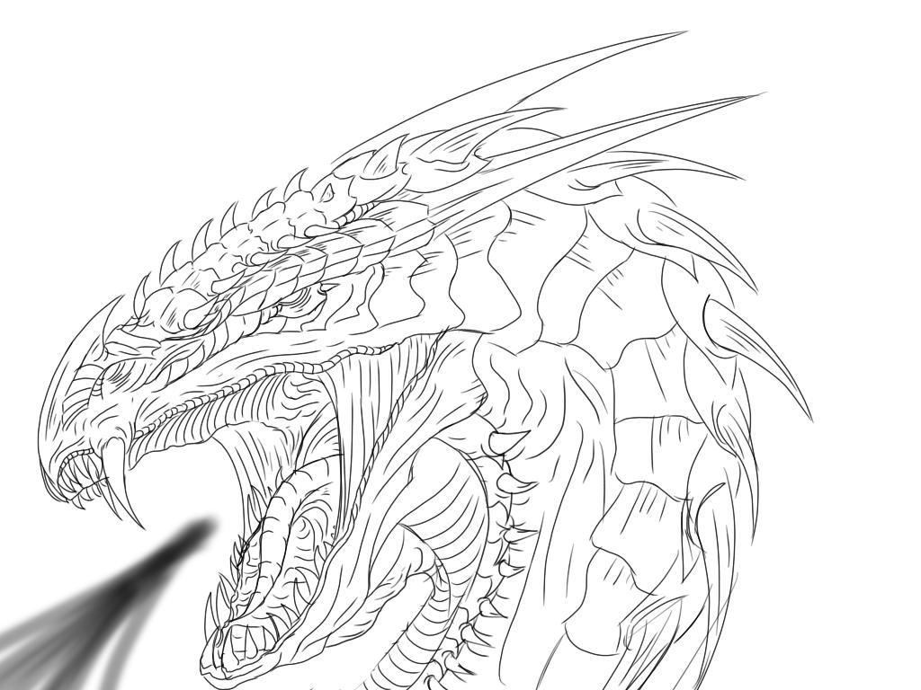 dragon head linart sketch by dudidraak