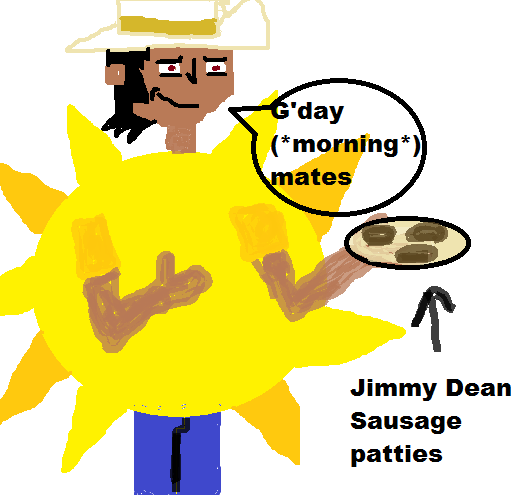 Manitoba in a sun costume jimmy dean commercial by