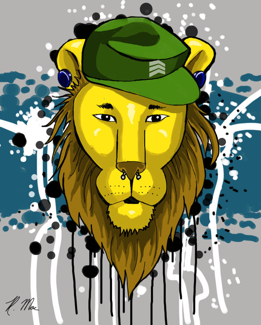 Hipster Lion I by RMacArt