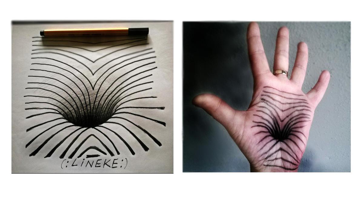 illusion optical hole hand lijn lineke deviantart
