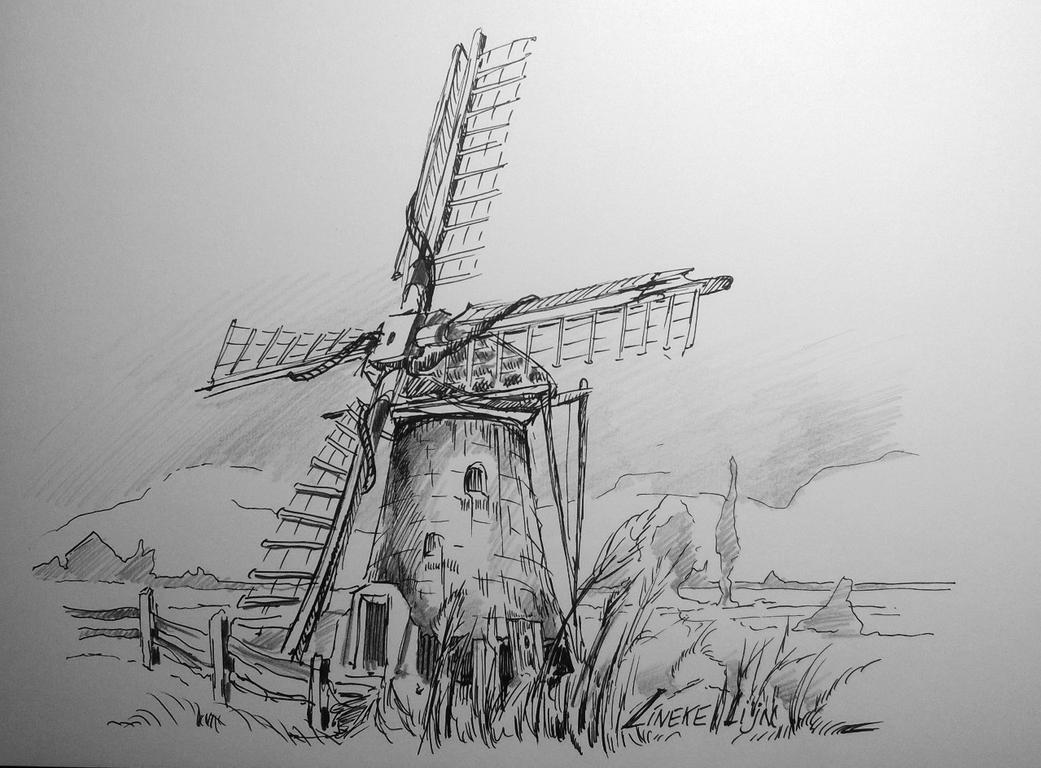 Line Drawing Windmill : Dutch windmill by lineke lijn on deviantart