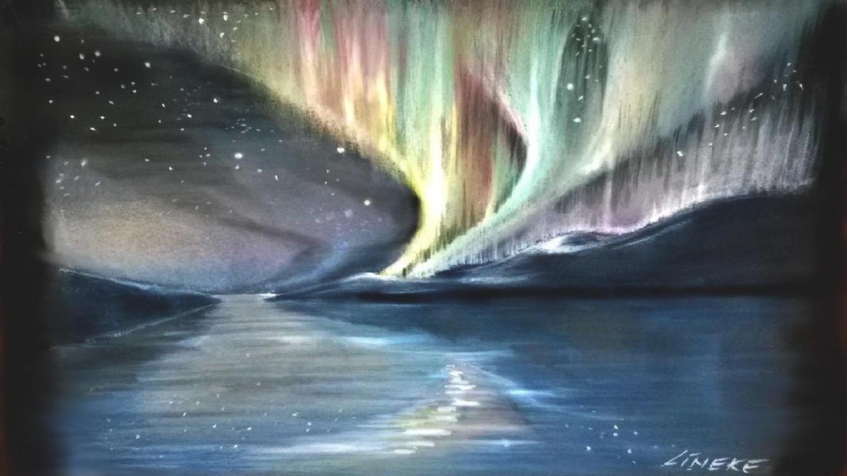 Northern Lights Or Aurora Borealis In Pastel By Lineke Lijn