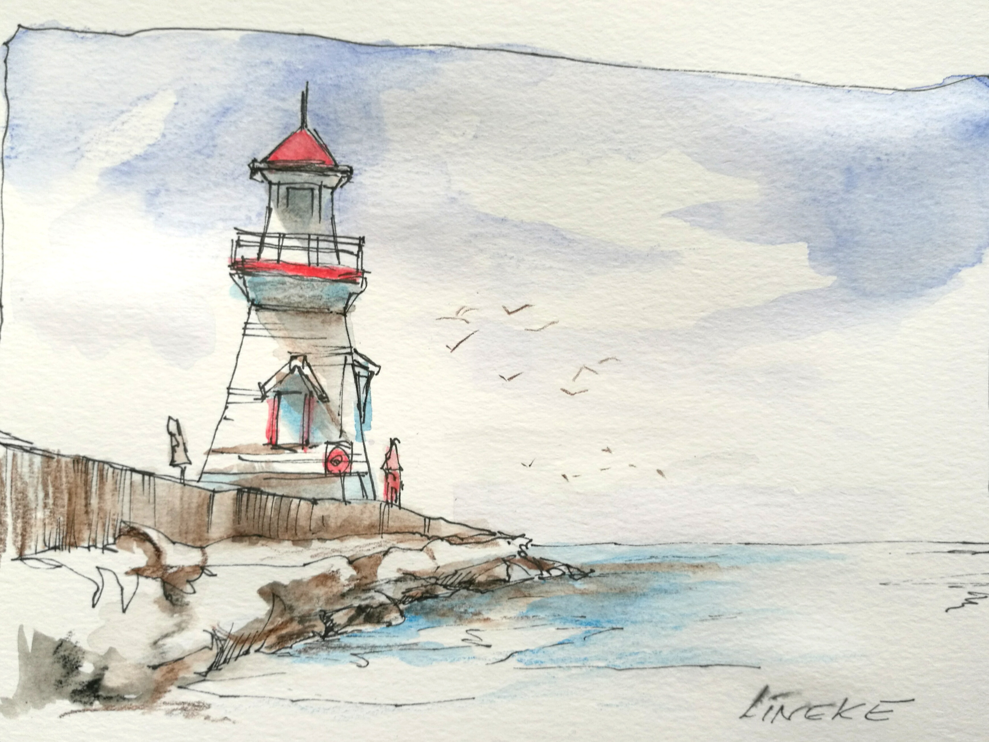 Lighthouse in aquarel watercolor pencils by lineke lijn on for Watercolor steps