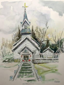 White Church in watercolor and ink