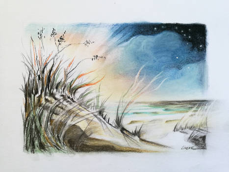 Dunes and sunset at the sea in pastel pencil