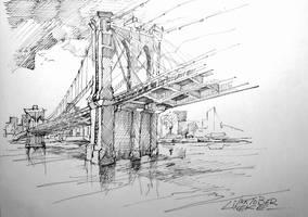 Inktober Booklyn Bridge by Lineke-Lijn