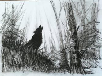 Howling wolf in charcoal by Lineke-Lijn