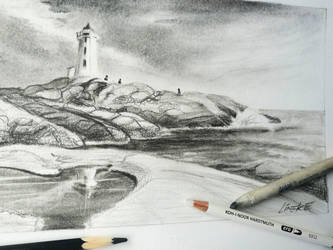 Lighthouse in Charcoal Peggys Cove by Lineke-Lijn
