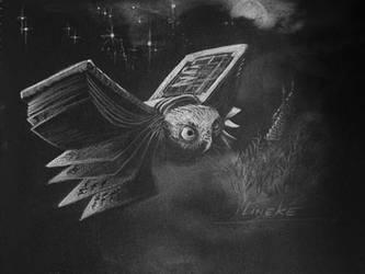 White owl on black canson by Lineke-Lijn