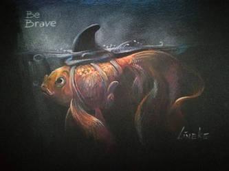 Be Brave little goldfish by Lineke-Lijn
