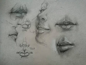 Mouth drawing by Lineke-Lijn