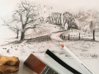 Sloping hills charcoal drawing by Lineke-Lijn