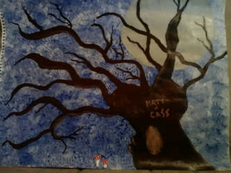 our tree in da moonlight ft. amanita by CosmicCassandra