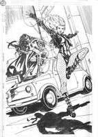 Huntress and Black Canary Commission Pencils by DrewEdwardJohnson