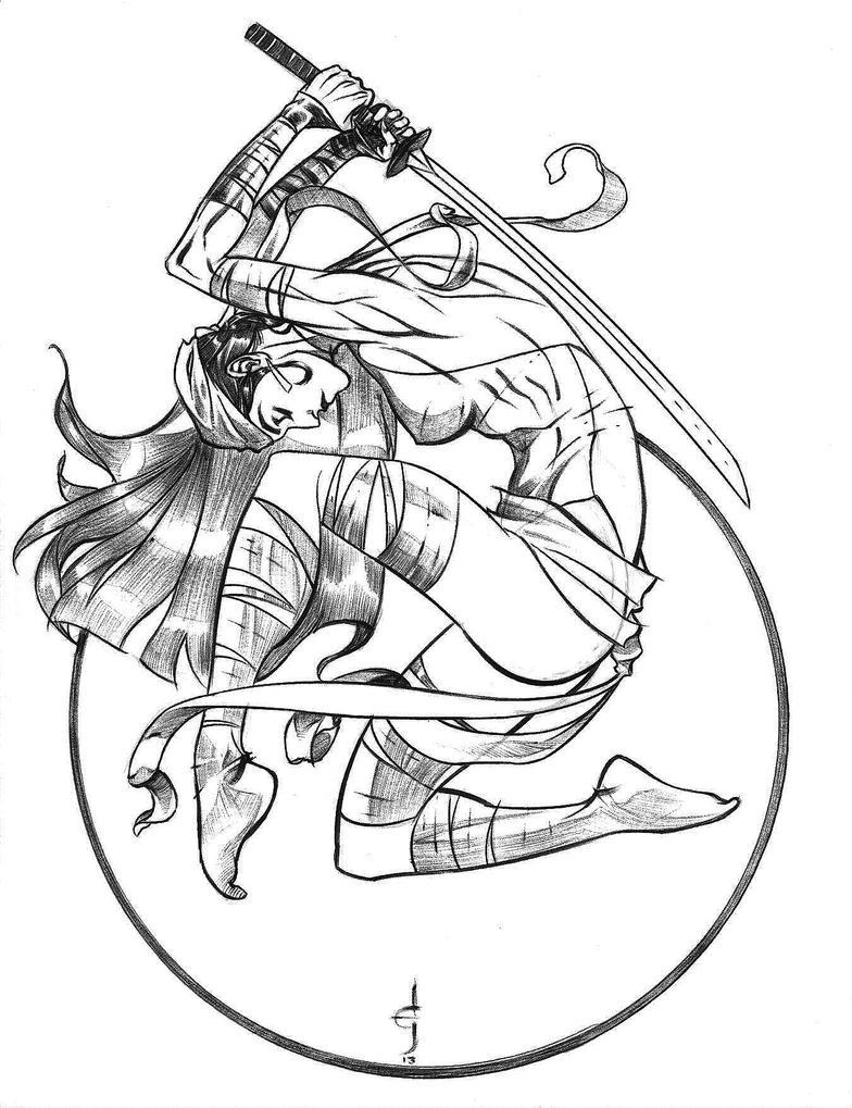 Elektra Ballpoint Pen Sketch by DrewEdwardJohnson