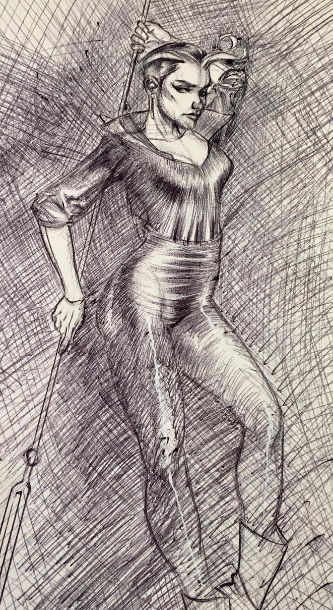 Grendel (Christine Spar) Ballpoint Sketch by DrewEdwardJohnson