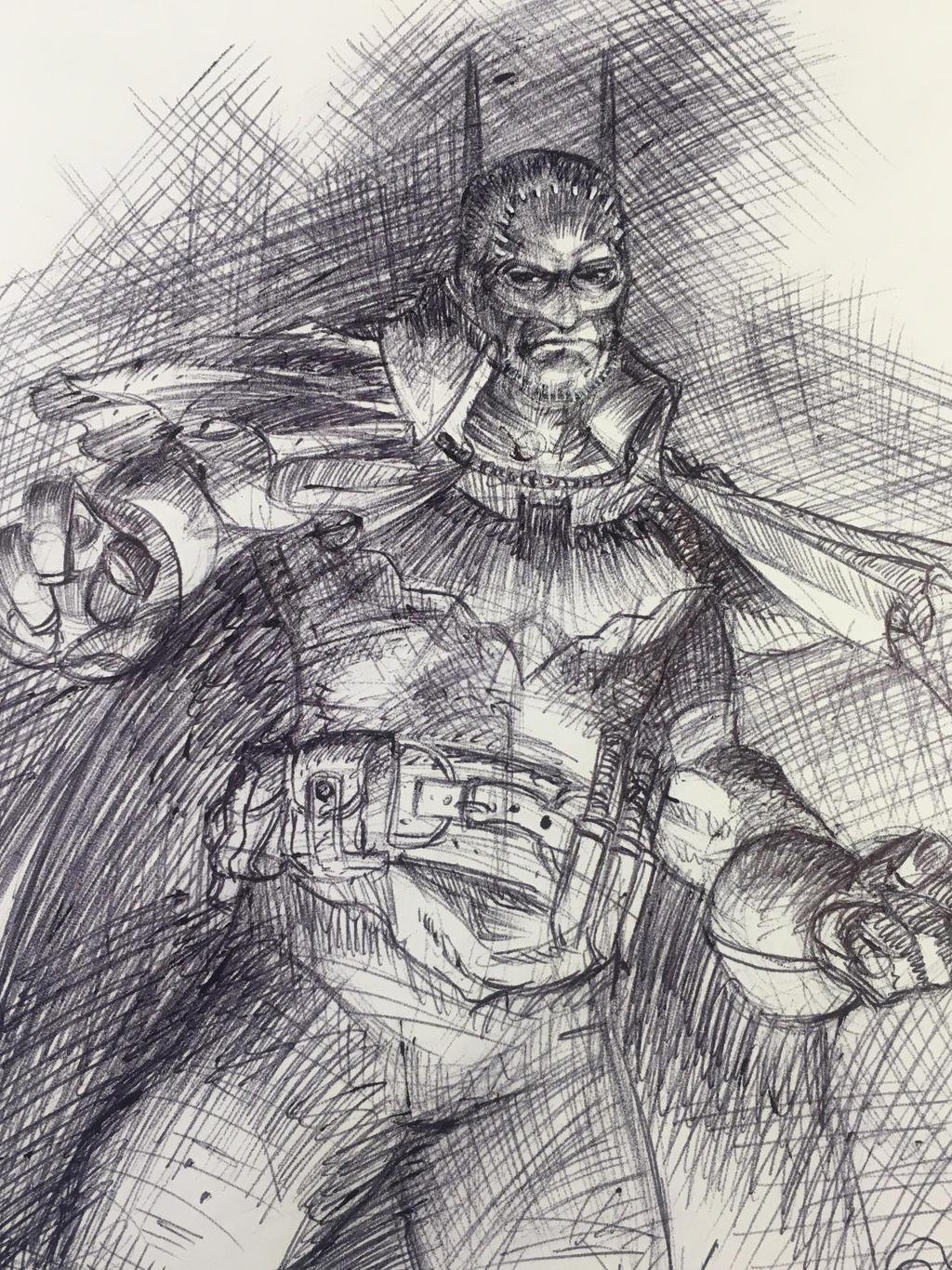 Victorian Batman ballpoint pen sketch by DrewEdwardJohnson