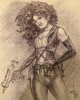 Deadpool 2 Domino Ballpoint Sketch by DrewEdwardJohnson