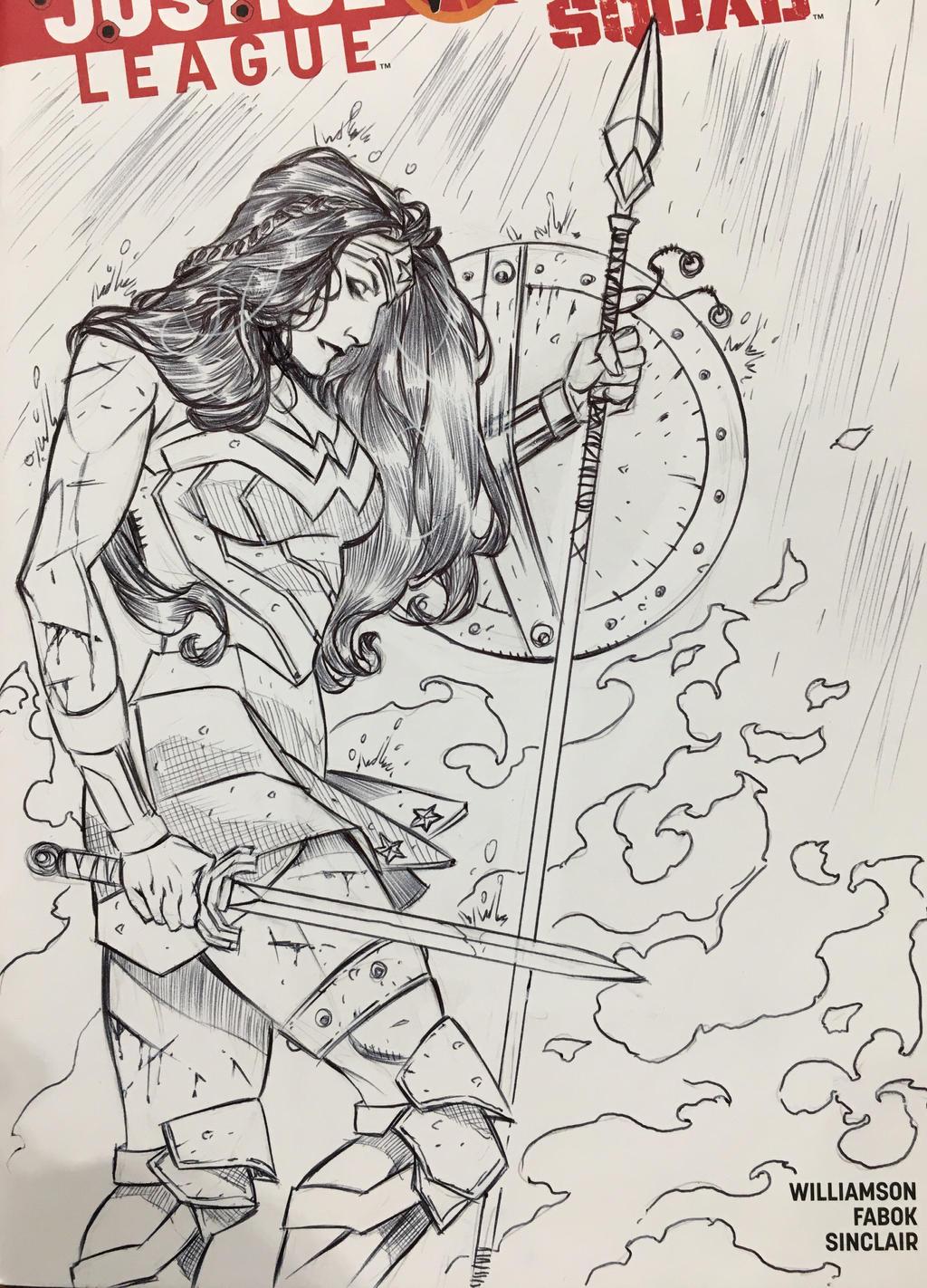 Wonder Woman Sketch Cover LBCE by DrewEdwardJohnson