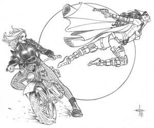 Black Canary  Huntress Commu by DrewEdwardJohnson