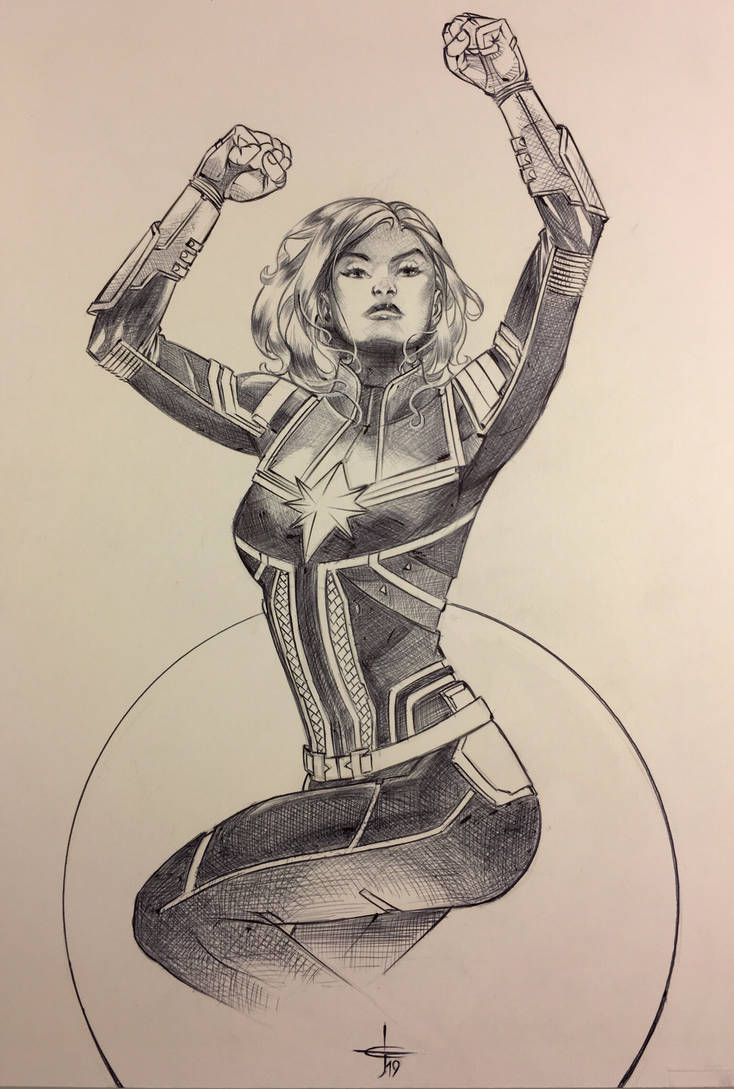 Captain Marvel Ballpoint Pen Illustration  by DrewEdwardJohnson